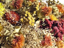 Preparing a bouquet of dried flowers