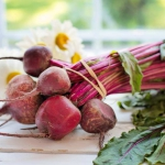 bunch of beet on table wrapped with elastic band