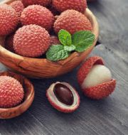 open lychee with pit