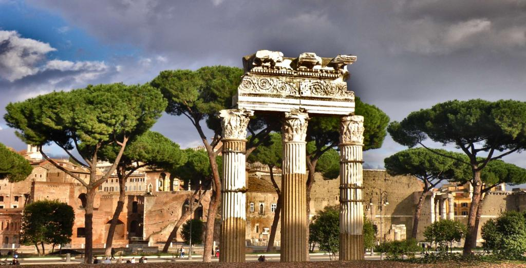 Stone pine trees highlight Roman ruins