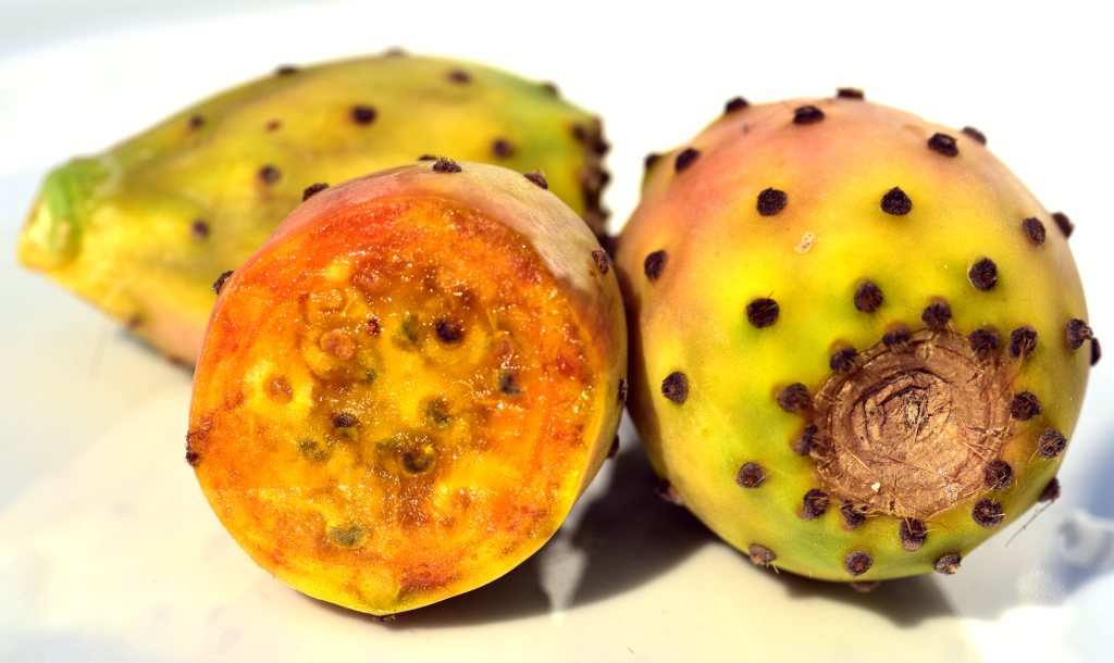 Sliced orange yellow barbary fig.