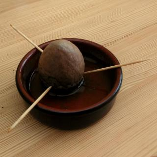 Avocado pit, cleaned and pointed tip up, set up over a water-filled saucer with three toothpicks.