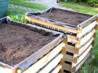 Two square raised garden beds at waist height.