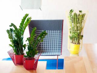 Three ZZ plants in colorful pots in a fashionable living room.