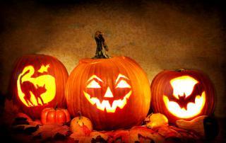 Pumpkins carved into halloween jack-o-lanterns.
