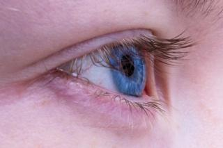 A close-up of a blue-eyed person's eyelid.