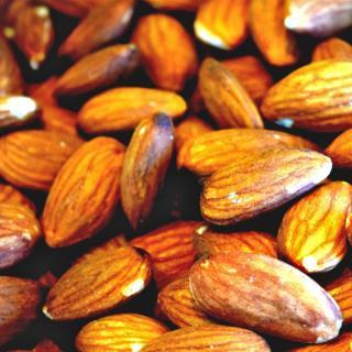 Fresh almonds in warm light