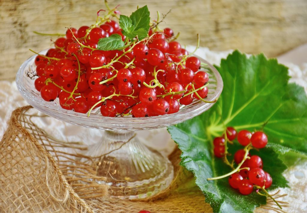 A glass bowl filled with red currant with a green leaf on the side with a sprig of red currant berries on top it.