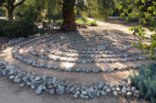 Stone labyrinth in a garden, great to focus concentration