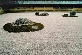 Rocks and gravel in the historic Ryoanji gardens.