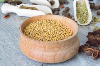 A bowl of white mustard seeds