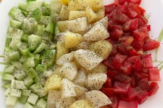 Diced chayote, steamed potato and tomato cubes