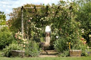 Authenticity in this stone and round post rose tree arbor